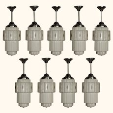 Set of 9 Art Deco Skyscraper Fixtures