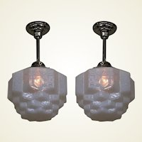 Pair Milky Blue Crackle Glass Fixtures