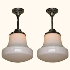 Pair Milk Glass Fixtures 3 pair Available