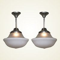 Pair Two Tone Milk Glass Fixtures 1920s