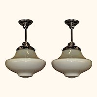 3 Unusual Two Tone School House Fixtures priced each