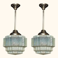 2 c.1930 Vintage Cloudy Blue Fixtures priced each