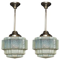 3 ea c.1930 Vintage Cloudy Blue Fixtures priced each