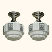 Two 1930's Art Deco Kitchen Bath Lighting Vintage Lights priced each