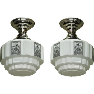 Two 1930's Art Deco Kitchen Bath Lighting Vintage Lights priced each