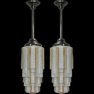 2 Huge Stalactite Pendants 1930s Vintage priced each Vintage Lights