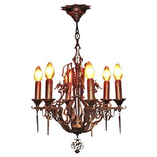 6 Light Bronze SPECTACULAR Fixture. Vintage 1930s