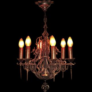 6 Light Bronze SPECTACULAR Fixture. Vintage 1930s
