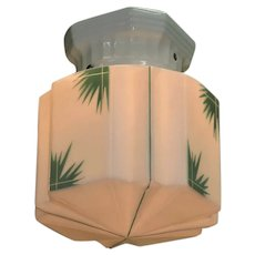 Vintage Deco Tropical Shade on Porcelain Fitter