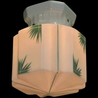 Vintage Deco Tropical Shade on Porcelain Fitter