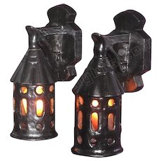 Pair c.1918 Vintage Cast Iron Porch Lights in Arts & Crafts, Bungalow, Storybook style,
