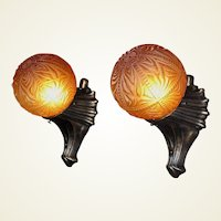 1920s - 30s Cast Iron Vintage Porch Lights A Matched Pair of Fixtures
