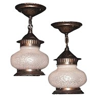 Pair of Vintage Pot Belly Porch Lights 1920s -1930s Priced per pair