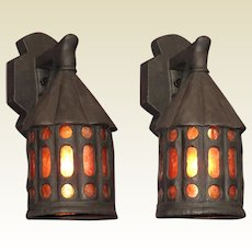 Pair Revival or Bungalow Style Porch Lights