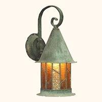 Large Copper Porch Light c.1920 Original Patina