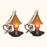 Pair Hammered Craftsman Table Lamps