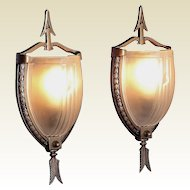 Pair vintage Slip Shade  lighting wall sconces. Federal style influence. 4 pair avail
