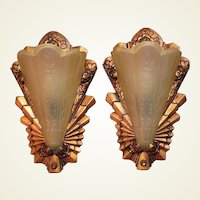 Late 20s Slip Shade Sconces with Roses