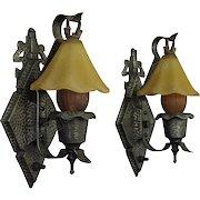 Pr. Hammered Arts& Crafts, Tudor, Storybook Style Sconces