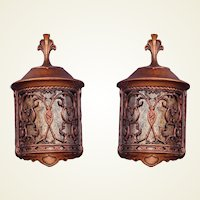 2 Pair 30s Revival Wall Fixtures with Mica Shade. Priced per pair