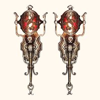Pair Vintage Spanish Revival Wall Sconces with Mica Medallion Shade.