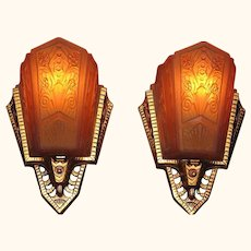 Art Deco Wall Sconces Original Slip Shades
