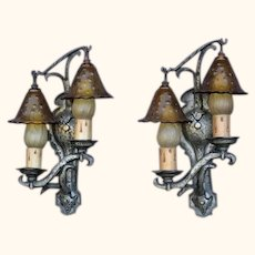 Rare Storybook Style Sconces w/ Original Smoke Bell vintagelights