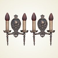 3 Vintage Bronze Viking Ship Sconces