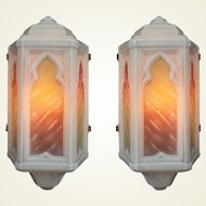 Pair Vintage Custard Glass Sconces with Original colors 3 pair available