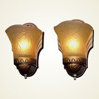 Very Deco Pair Vintage Slip Shade Wall Sconces