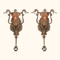 5 Vintage bronze Sconces Revival Style with New Mica shade.