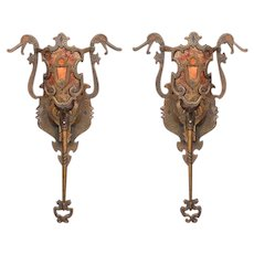 4 Vintage bronze Sconces Revival Style with New Mica shade.