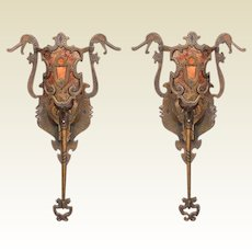Vintage bronze Sconces Revival Style with New Mica shade.