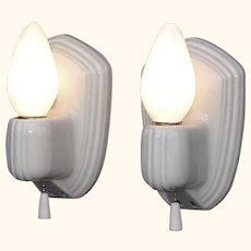 Pair Vintage White Porcelain Wall Sconce Fixtures.