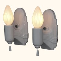 Streamlined white porcelain vintage wall lighting fixtures. Priced for pair, 2 pr available