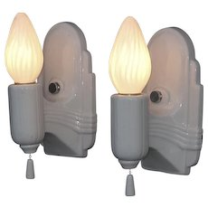 Streamlined white porcelain vintage wall lighting fixtures. Priced for pair