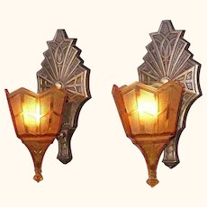 Pair Vintage Tudor Slip Shade Wall Sconces