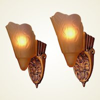 Pair Vintage 1920s - 30s Slip Shade Wall Sconces