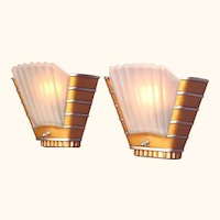 Pair Art Deco Theater Wall Sconces