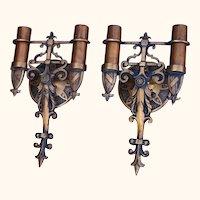 Pair Vintage Bronze Spanish Revival Sconces w/ 3rd