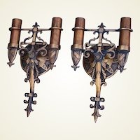 Pair Vintage Bronze Spanish Revival Sconces w/ 3rd