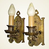 Vintage Pair Tudor Spanish Revival Sconces