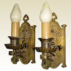 Vintage Pair Tudor Spanish Revival Sconces