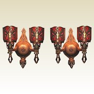 Pair Vintage Bronze 2 Bulb Sconces Tudor Spanish Revival