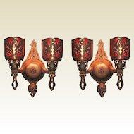 Pair Vintage Bronze 2 Bulb Sconces Tudor Spanish Revival
