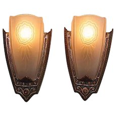 Late 20s Slip Shade Sconces