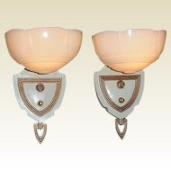 Pair 1930s Vintage Custard Shade Wall Lighting Sconces Original Antique Clip / Slip Shades on Fixtures