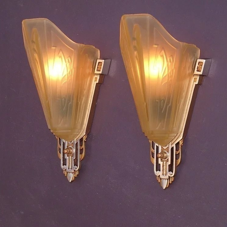 Vintage Slip Shade Wall Sconces With Polished Aluminum