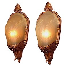 Pair 1930s Slip Shade Covered Bulb Wall Sconces ADA
