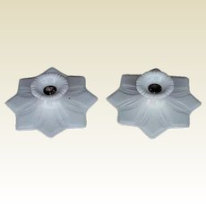 1920s White Porcelain Star Fixture, Wall or Ceiling Mount; 2 available, priced each